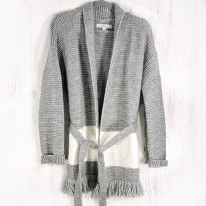 LOFT gray wool blend chunky knit tie front duster